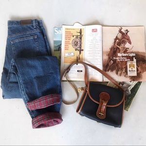 VTG LL Bean High Rise Relaxed Fit Plaid Line Jeans